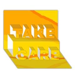 Yellow decorative design TAKE CARE 3D Greeting Card (7x5)