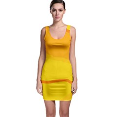 Yellow decorative design Sleeveless Bodycon Dress