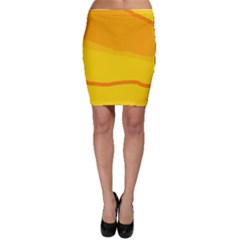 Yellow decorative design Bodycon Skirt