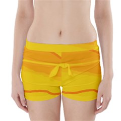 Yellow decorative design Boyleg Bikini Wrap Bottoms
