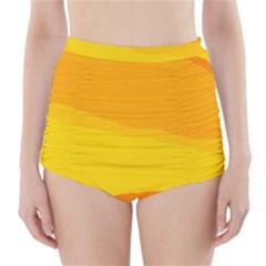 Yellow decorative design High-Waisted Bikini Bottoms