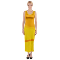 Yellow decorative design Fitted Maxi Dress