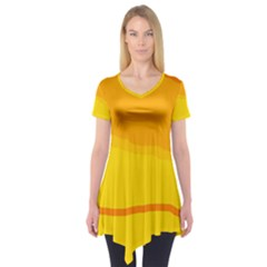 Yellow decorative design Short Sleeve Tunic