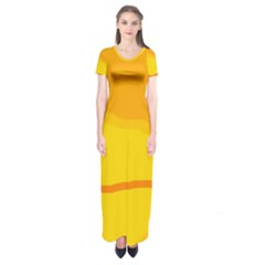 Yellow decorative design Short Sleeve Maxi Dress