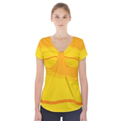 Yellow Decorative Design Short Sleeve Front Detail Top
