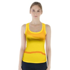 Yellow Decorative Design Racer Back Sports Top