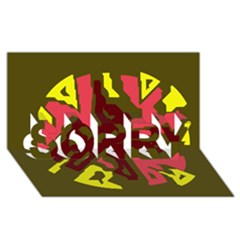 Abstract design SORRY 3D Greeting Card (8x4)