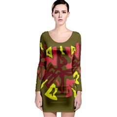 Abstract design Long Sleeve Bodycon Dress