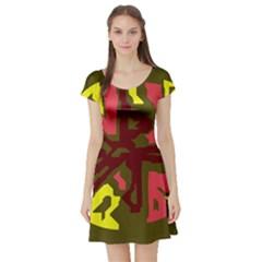Abstract design Short Sleeve Skater Dress