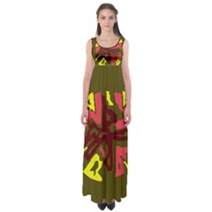 Abstract Design Empire Waist Maxi Dress
