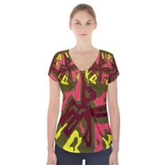 Abstract design Short Sleeve Front Detail Top