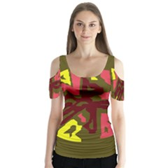 Abstract design Butterfly Sleeve Cutout Tee