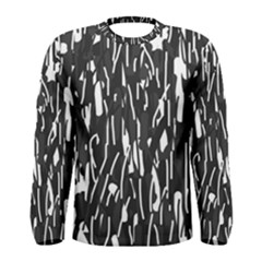Black and white elegant pattern Men s Long Sleeve Tee