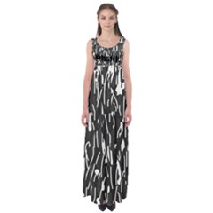 Black and white elegant pattern Empire Waist Maxi Dress