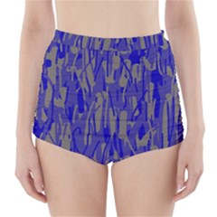Plue decorative pattern  High-Waisted Bikini Bottoms