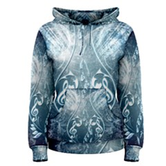 Music, Decorative Clef With Floral Elements In Blue Colors Women s Pullover Hoodie