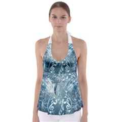 Music, Decorative Clef With Floral Elements In Blue Colors Babydoll Tankini Top