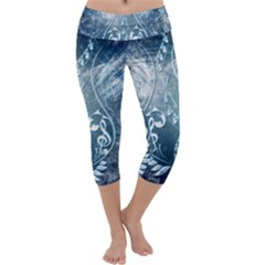 Music, Decorative Clef With Floral Elements In Blue Colors Capri Yoga Leggings