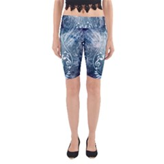 Music, Decorative Clef With Floral Elements In Blue Colors Yoga Cropped Leggings