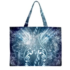 Music, Decorative Clef With Floral Elements In Blue Colors Large Tote Bag