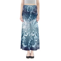 Music, Decorative Clef With Floral Elements In Blue Colors Maxi Skirts