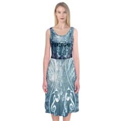 Music, Decorative Clef With Floral Elements In Blue Colors Midi Sleeveless Dress