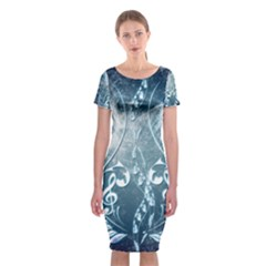 Music, Decorative Clef With Floral Elements In Blue Colors Classic Short Sleeve Midi Dress