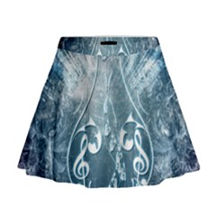 Music, Decorative Clef With Floral Elements In Blue Colors Mini Flare Skirt