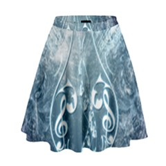 Music, Decorative Clef With Floral Elements In Blue Colors High Waist Skirt