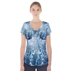 Music, Decorative Clef With Floral Elements In Blue Colors Short Sleeve Front Detail Top