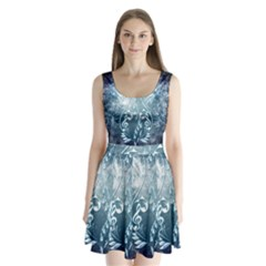 Music, Decorative Clef With Floral Elements In Blue Colors Split Back Mini Dress