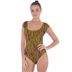 Decorative pattern  Short Sleeve Leotard