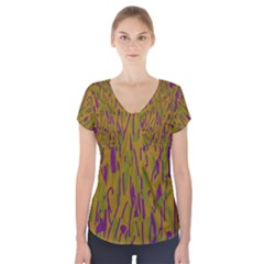 Decorative pattern  Short Sleeve Front Detail Top