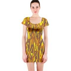 Yellow pattern Short Sleeve Bodycon Dress