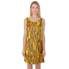 Yellow pattern Sleeveless Satin Nightdress