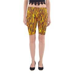 Yellow pattern Yoga Cropped Leggings