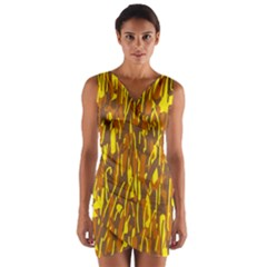 Yellow pattern Wrap Front Bodycon Dress
