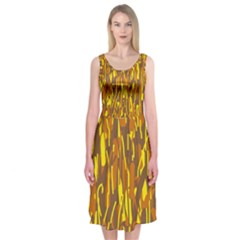 Yellow pattern Midi Sleeveless Dress