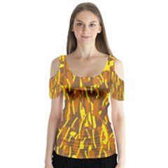 Yellow Pattern Butterfly Sleeve Cutout Tee