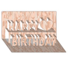 Pink pattern Happy Birthday 3D Greeting Card (8x4)