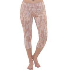 Pink Pattern Capri Yoga Leggings
