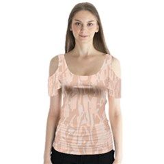 Pink Pattern Butterfly Sleeve Cutout Tee
