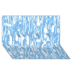 Blue pattern HUGS 3D Greeting Card (8x4)