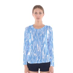Blue pattern Women s Long Sleeve Tee