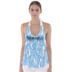 Blue pattern Babydoll Tankini Top