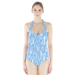 Blue pattern Halter Swimsuit