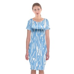 Blue pattern Classic Short Sleeve Midi Dress