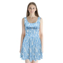 Blue Pattern Split Back Mini Dress