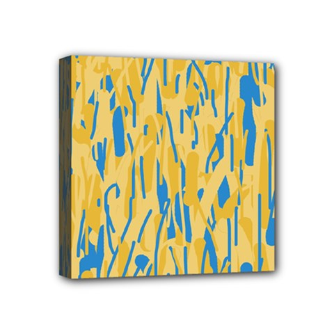Yellow and blue pattern Mini Canvas 4  x 4