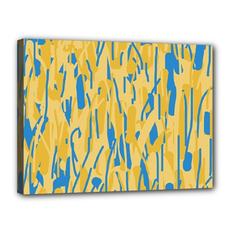 Yellow and blue pattern Canvas 16  x 12